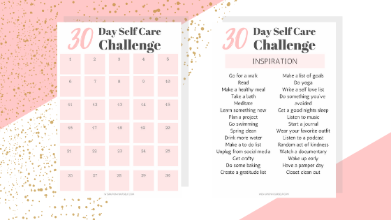 graphic about Printable Self Care Plan called 30 Working day Self Treatment Trouble + Totally free Printable